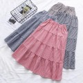 skirt Spring of 2019 Average size recommended 80-135 kg Black and white, dark blue, white, red and white, New Khaki fresh High waist Fluffy skirt lattice Type A 91% (inclusive) - 95% (inclusive) other cotton Fold, splice