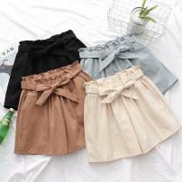 Casual pants Black, gray, beige, brick red Average size Summer 2020 shorts Wide leg pants High waist Sweet Thin money 18-24 years old 81% (inclusive) - 90% (inclusive) Cotton blended fabric bow solar system