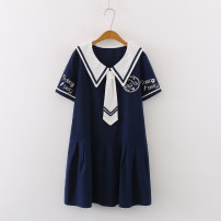 Dress Summer 2020 Average size singleton  Short sleeve commute Admiral High waist Solid color Single breasted A-line skirt routine Others 18-24 years old Type A Korean version Button, button More than 95% cotton