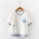 T-shirt White, pink, blue Average size Summer of 2019 Short sleeve Crew neck easy routine Sweet cotton 51% (inclusive) - 70% (inclusive) 18-24 years old youth Cartoon animation Other / other Print, pocket