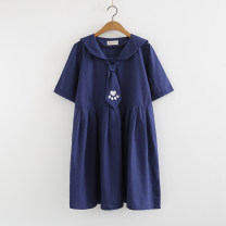 Dress Summer of 2018 Blue footprint scarf, white footprint scarf, Tibetan Scarf Bear, white scarf bear Average size singleton  Short sleeve commute Admiral Loose waist Solid color Socket A-line skirt routine 18-24 years old Type A literature