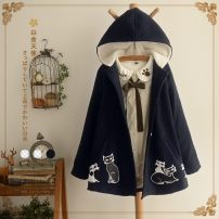 woolen coat Winter 2016 Single code (high quality original) Beige is thickened with velvet, and navy is thickened with velvet other 91% (including) - 95% (excluding) Medium length Long sleeves Sweet Single breasted routine Hood Cape type 18-24 years old Pocket, button Solid color solar system