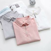shirt Gray, white, pink S,M,L,XL Spring 2020 cotton 96% and above Long sleeves Sweet Polo collar Single row multi button routine Solid color 18-24 years old Straight cylinder Buttons, embroidery