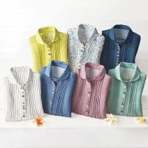 shirt Yellow, blue check, small check, yellow lapel, floret lapel, Navy lapel, white stripe lapel, dot lapel, rose lapel, mint lapel M,L,LL,3L,4L,5L cotton 96% and above three quarter sleeve Regular