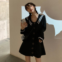 Women's large Autumn 2020 black S. M, l (100-120 kg recommended), XL (120-140 kg recommended), 2XL (140-160 kg recommended), 3XL (160-180 kg recommended), 4XL (180-200 kg recommended) Dress singleton  commute Self cultivation moderate Cardigan Long sleeves Solid color Korean version Admiral polyester