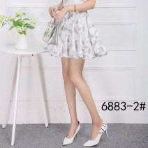 skirt Spring 2021 Average size white Short skirt Versatile High waist A-line skirt Decor Type A 71% (inclusive) - 80% (inclusive) brocade cotton Pleat, fold, print