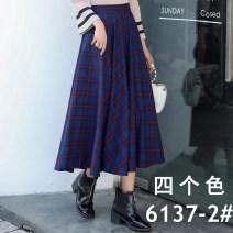 skirt Autumn 2020 Average size Black, red, blue longuette Versatile High waist A-line skirt lattice Type A Wool Print, pocket