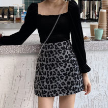 skirt Autumn 2020 M,L,XL,2XL,3XL,4XL grey Short skirt Versatile High waist A-line skirt Leopard Print Type A 81% (inclusive) - 90% (inclusive) other Deer skin Three dimensional decoration, printing