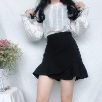 skirt Summer of 2019 M,L,XL,2XL,3XL,4XL black Short skirt Versatile High waist skirt Solid color Type A 81% (inclusive) - 90% (inclusive) other other Ruffles, asymmetric, stitched