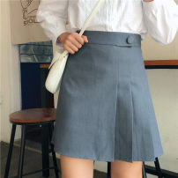 skirt Autumn of 2019 M,L,XL,2XL,3XL,4XL Black, gray Short skirt Versatile High waist Pleated skirt Solid color Type A 81% (inclusive) - 90% (inclusive) other Fold, asymmetry, button