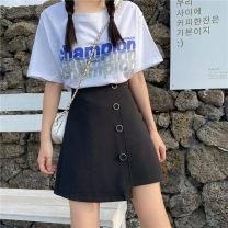 skirt Summer 2020 M,L,XL,2XL,3XL,4XL black Short skirt commute High waist Irregular Solid color Type A 91% (inclusive) - 95% (inclusive) other polyester fiber Three dimensional decoration, asymmetry, button, zipper Korean version