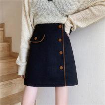 skirt Autumn 2020 M,L,XL,2XL,3XL,4XL black Short skirt commute High waist Irregular Solid color Type A 81% (inclusive) - 90% (inclusive) other polyester fiber Asymmetric, button, zipper Korean version