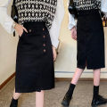 skirt Autumn 2020 M,L,XL,2XL,3XL,4XL black Mid length dress Versatile Natural waist Irregular Solid color Type A 51% (inclusive) - 70% (inclusive) other nylon