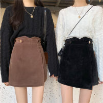 skirt Winter 2020 M,L,XL,2XL,3XL,4XL Black, Khaki Short skirt commute High waist Irregular Solid color Type A 51% (inclusive) - 70% (inclusive) other other Three dimensional decoration, asymmetry, button Korean version