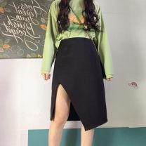 skirt Autumn 2020 M,L,XL,2XL,3XL,4XL black Mid length dress commute High waist Irregular Solid color Type A 81% (inclusive) - 90% (inclusive) other polyester fiber Asymmetric, zipper Korean version