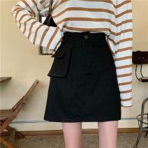 skirt Autumn 2020 M,L,XL,2XL,3XL,4XL Black, green Short skirt Versatile High waist A-line skirt Solid color Type A 71% (inclusive) - 80% (inclusive) other other pocket , Three dimensional decoration , Button , Elastic waist