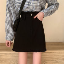 skirt Spring 2021 M,L,XL,2XL,3XL,4XL black Short skirt commute High waist Denim skirt Solid color Type A 25-29 years old 91% (inclusive) - 95% (inclusive) Denim other Button, pocket, asymmetric, three-dimensional decoration, burr Korean version