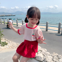 T-shirt gules EYAE KIDS 90cm,100cm,110cm,120cm,130cm,140cm female summer Short sleeve other leisure time There are models in the real shooting nothing cotton stripe Cotton 95% other 5% B0208 Class B Three, four, five, six, seven, eight, nine Chinese Mainland Zhejiang Province Hangzhou