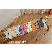 Children's socks (0-16 years old) Socks Purple, pink, white, yellow, orange, green, off white, light gray, blue gray, orange, mint green, goose yellow, meat, mint blue M (3-5 years old), l (5-8 years old) Other / other spring and autumn neutral Class B Cotton 90% other 10% E21102 leisure time
