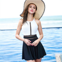 one piece  OOK L,XL,XXL Skirt one piece With chest pad without steel support Nylon, spandex, others female Sleeveless Casual swimsuit backless