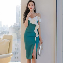 Dress Summer 2020 green S,M,L,XL Mid length dress singleton  Sleeveless commute V-neck middle-waisted Solid color zipper One pace skirt camisole 25-29 years old Type X Korean version Ruffle, open back, stitching, asymmetric, zipper