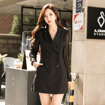 Dress Winter of 2018 black S,M,L,XL Middle-skirt singleton  Long sleeves commute tailored collar middle-waisted Solid color double-breasted One pace skirt routine Others Type H Korean version Pockets, panels, buttons
