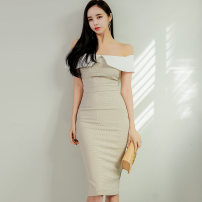 Dress Spring 2021 Picture color S,M,L,XL Mid length dress singleton  commute One word collar High waist lattice Socket One pace skirt Others 25-29 years old Type X Korean version Open back, stitching, zipper