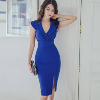 Dress Summer 2020 blue S,M,L,XL Mid length dress singleton  Sleeveless commute tailored collar High waist Solid color zipper One pace skirt Others 25-29 years old Type X Korean version Pleats, stitches, zippers