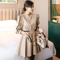 Dress Spring 2020 khaki S,M,L,XL Short skirt singleton  Long sleeves commute Crew neck middle-waisted Solid color zipper Ruffle Skirt bishop sleeve Others 25-29 years old Type A Korean version Stitching, bandage, zipper