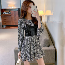 Dress Spring 2021 Picture color S,M,L,XL Short skirt Two piece set Long sleeves commute Crew neck middle-waisted Decor Socket One pace skirt routine Others 25-29 years old Type A Korean version Ruffle, stitching, zipper, print