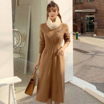 Dress Winter of 2019 khaki S,M,L,XL Mid length dress singleton  Long sleeves commute Crew neck middle-waisted Socket Big swing routine Others 25-29 years old Type X Korean version Bow, tie