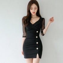 Dress Autumn 2020 black S,M,L,XL Short skirt singleton  elbow sleeve commute V-neck middle-waisted Solid color zipper One pace skirt routine Others 25-29 years old Type X Korean version Panel, button, zipper