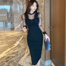 Dress Winter 2020 black S,M,L,XL Mid length dress singleton  Long sleeves commute Crew neck High waist Solid color zipper One pace skirt routine Others 25-29 years old Type X Korean version Stitching, mesh, zipper, lace