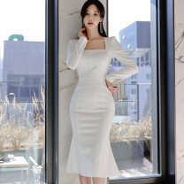 Dress Winter 2020 White, black S,M,L,XL Mid length dress singleton  Long sleeves commute square neck middle-waisted Solid color zipper One pace skirt routine Others 25-29 years old Type X Korean version Ruffles, open back, stitching, buttons, zippers