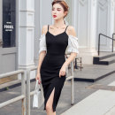 Dress Summer 2020 black S,M,L,XL Middle-skirt singleton  Short sleeve commute square neck middle-waisted Solid color zipper One pace skirt puff sleeve camisole 25-29 years old Type X Korean version Open back, stitching, zipper