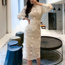 Dress Summer 2020 white S,M,L,XL Mid length dress singleton  Long sleeves commute High collar middle-waisted Solid color zipper One pace skirt bishop sleeve Others 25-29 years old Type X Korean version Stitching, zipper, lace