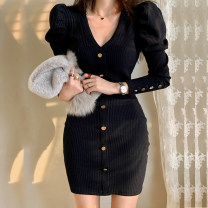Dress Autumn 2020 Khaki, black S,M,L,XL Short skirt singleton  Long sleeves commute V-neck middle-waisted Solid color Single breasted One pace skirt puff sleeve Others Type X Korean version Button, button