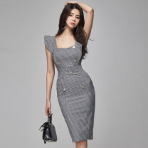 Dress Summer 2020 Picture color S,M,L,XL Middle-skirt singleton  Sleeveless commute square neck middle-waisted lattice zipper One pace skirt Flying sleeve Others Type X Retro Ruffles, stitching, buttons, zippers