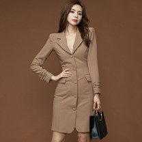 Dress Autumn of 2019 khaki S,M,L,XL Mid length dress singleton  Long sleeves tailored collar middle-waisted Solid color Single breasted One pace skirt routine Others Type X Button, button