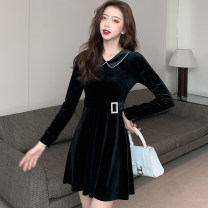 Dress Winter 2020 black S,M,L,XL Short skirt singleton  Long sleeves commute Doll Collar High waist Solid color zipper A-line skirt routine Others 25-29 years old Type A Korean version Lace up, stitching, zipper
