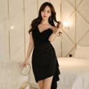 Dress Summer 2020 black S,M,L,XL Short skirt singleton  Sleeveless commute V-neck middle-waisted Solid color zipper Irregular skirt camisole Type X Korean version Ruffle, stitching, asymmetric, zipper
