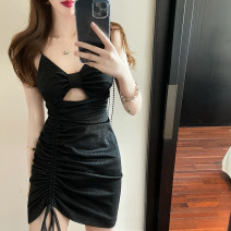 Dress Summer 2021 black S,M,L Short skirt singleton  Sleeveless commute One word collar High waist Solid color zipper One pace skirt camisole 25-29 years old Type X Korean version Bowknot, hollow out, open back, stitching