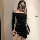 Dress Winter 2020 black S,M,L Short skirt singleton  Long sleeves commute One word collar High waist Solid color zipper One pace skirt routine Others 25-29 years old Type X Korean version Backless, pleated, stitched, zipper