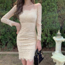 Dress Spring 2021 Apricot, black S,M,L,XL Middle-skirt singleton  Long sleeves commute Crew neck High waist Solid color zipper One pace skirt routine Others 25-29 years old Type X Korean version Backless, stitching, zipper, lace