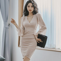 Dress Autumn 2020 khaki S,M,L,XL Short skirt singleton  Long sleeves commute V-neck middle-waisted Solid color Socket One pace skirt bishop sleeve Others 25-29 years old Type X Korean version Pleating, stitching, mesh