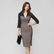 Dress Autumn of 2019 black S,M,L,XL Middle-skirt singleton  three quarter sleeve commute V-neck High waist Solid color zipper One pace skirt routine Others Type X Korean version Panel, zipper