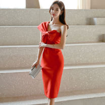 Dress Summer 2020 gules S,M,L,XL Middle-skirt singleton  Sleeveless commute Slant collar High waist Solid color zipper One pace skirt routine Oblique shoulder 25-29 years old Type X Korean version Bow, fold, stitching, zipper