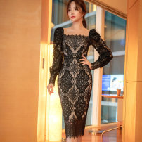 Dress Winter 2020 black S,M,L,XL Mid length dress singleton  Long sleeves commute square neck middle-waisted Solid color other One pace skirt bishop sleeve Others 25-29 years old Type X Korean version