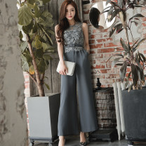 Casual pants grey S M L Summer of 2018 trousers Jumpsuit High waist commute routine Korean version Lace stitching