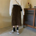 skirt Spring 2021 S, M Black, brown Mid length dress Versatile High waist A-line skirt Solid color Type A 25-29 years old